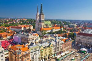 Zagreb main square and cathedral aerial view, Croatia.