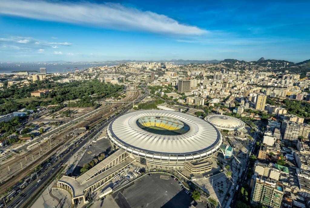 Aerial view of Maracana Stadium in Rio de Janeiro.