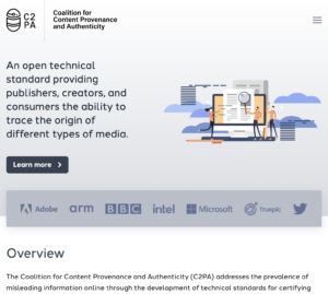 Screenshot of the c2pa.org home page.